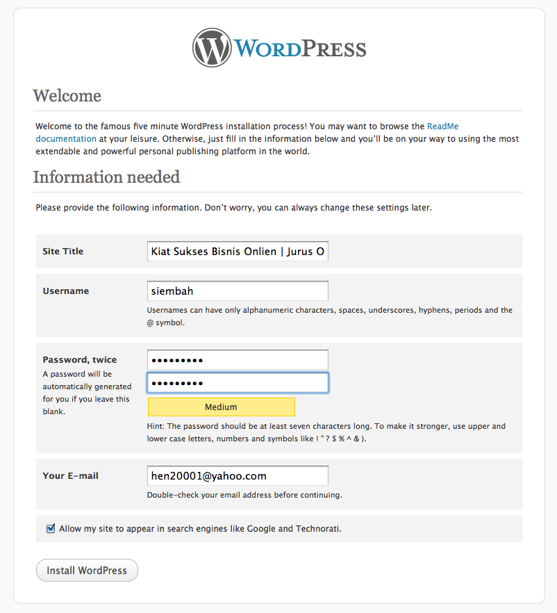 install worpress step 5