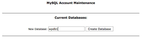 create database name