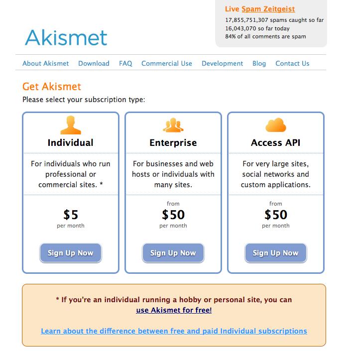 Register Akismet